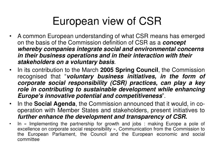 European view of CSR