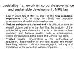 legislative framework on corporate governance and sustainable development nre law