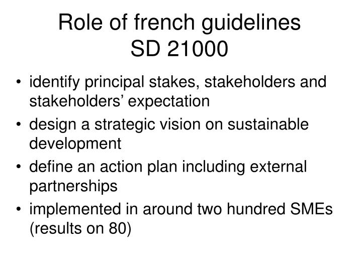 Role of french guidelines
