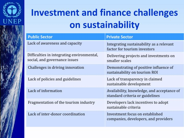 Investment and finance challenges on sustainability