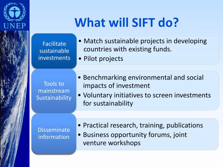 Facilitate sustainable investments