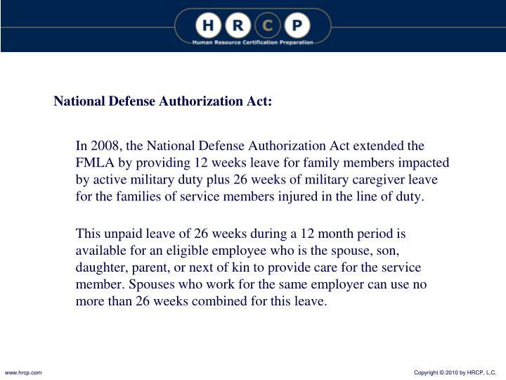 National Defense Authorization Act: