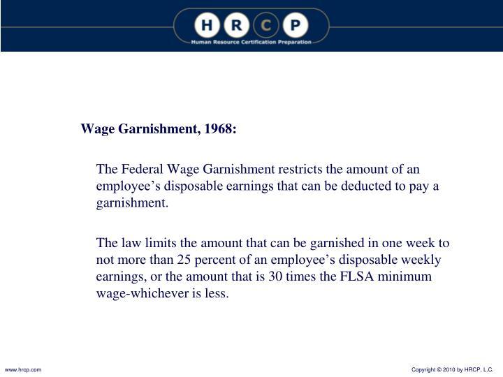 Wage Garnishment, 1968: