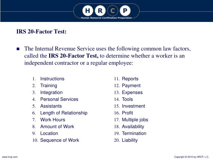 IRS 20-Factor Test: