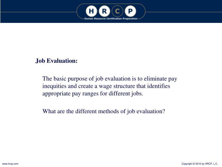 Job Evaluation: