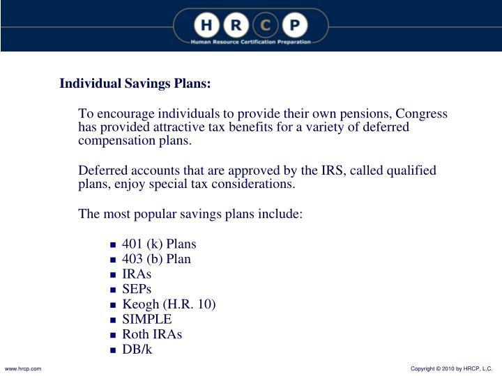 Individual Savings Plans: