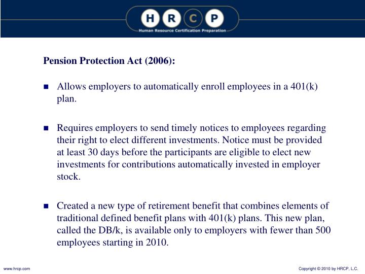 Pension Protection Act (2006):