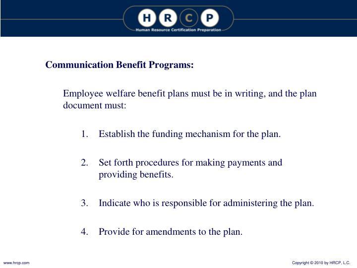 Communication Benefit Programs: