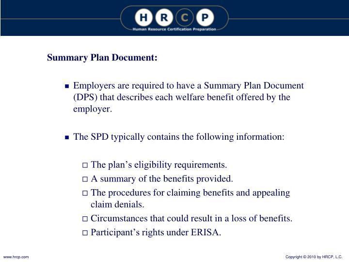 Summary Plan Document: