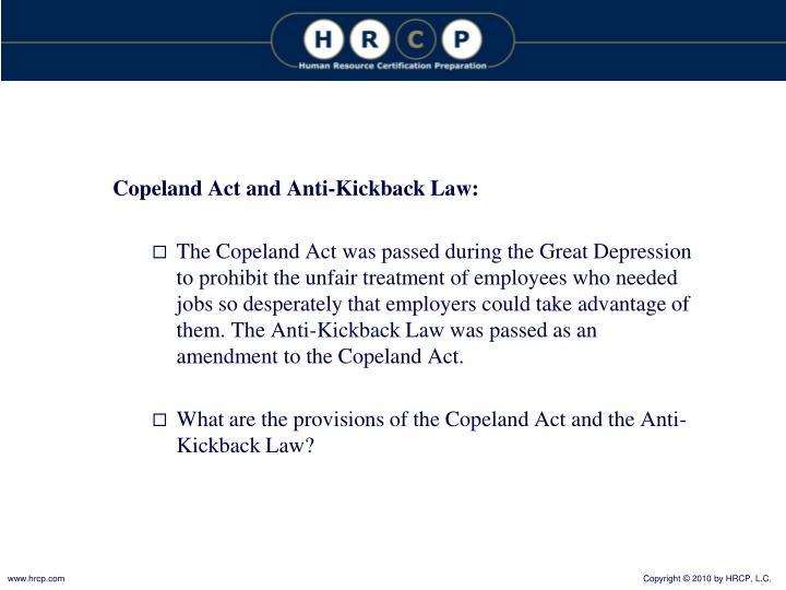 Copeland Act and Anti-Kickback Law: