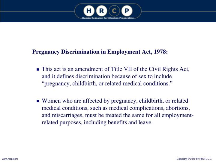 Pregnancy Discrimination in Employment Act, 1978: