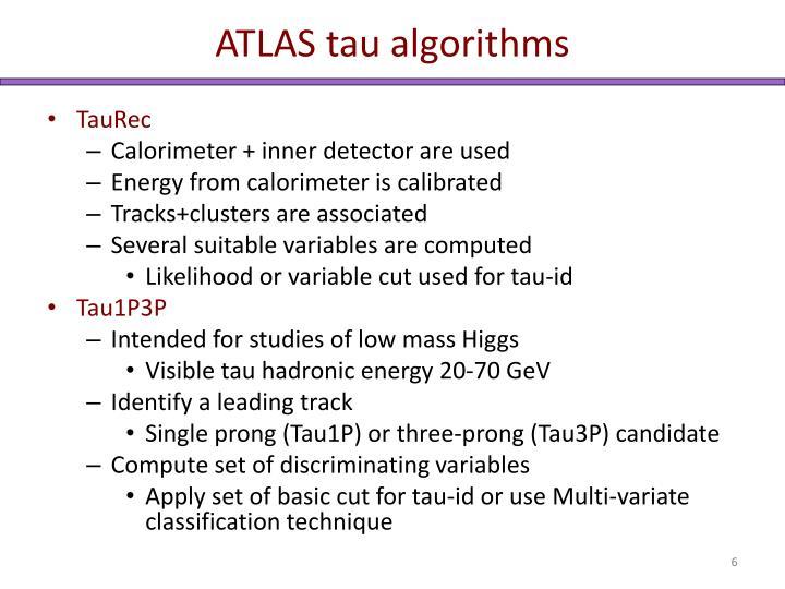 ATLAS tau algorithms