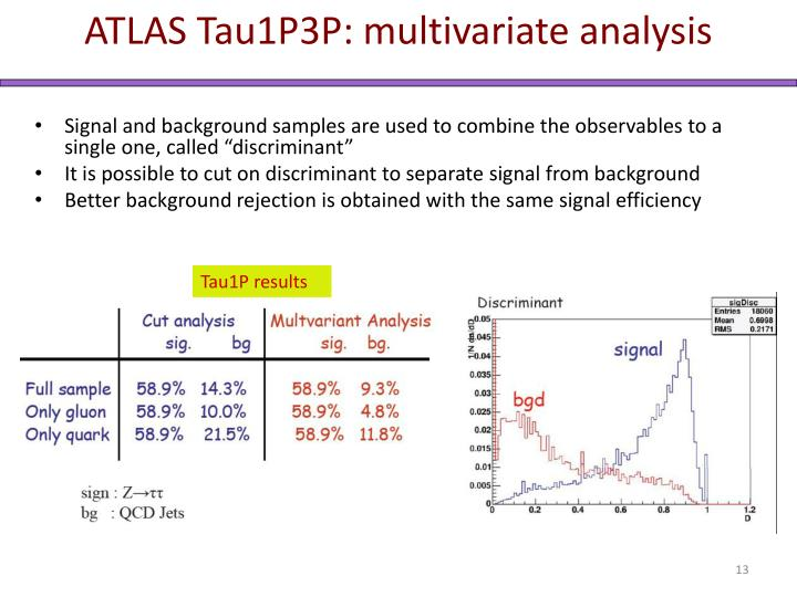 ATLAS Tau1P3P: multivariate analysis