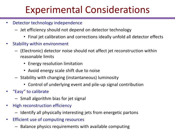 Experimental Considerations