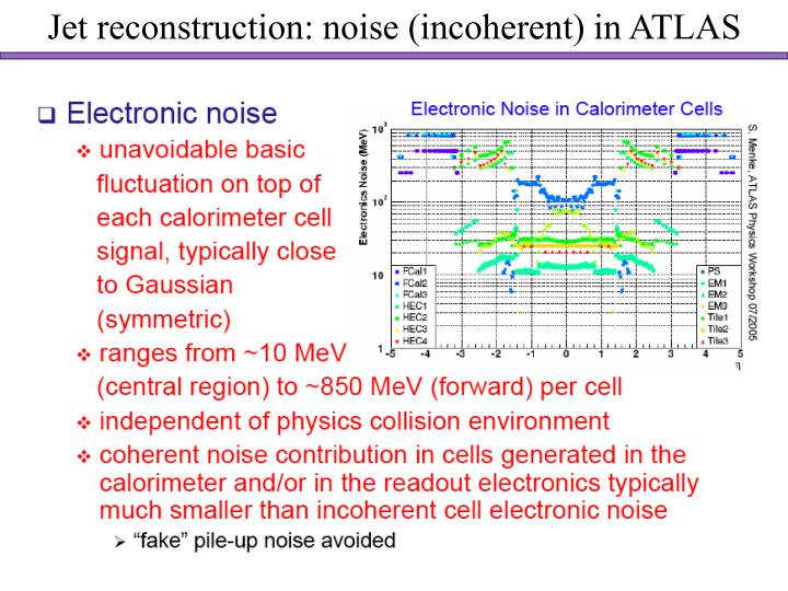 Jet reconstruction: noise (incoherent) in ATLAS
