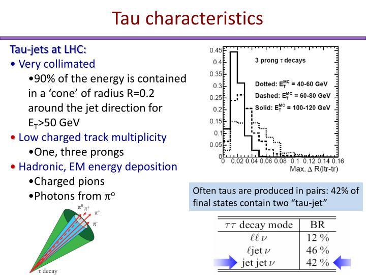 Tau characteristics