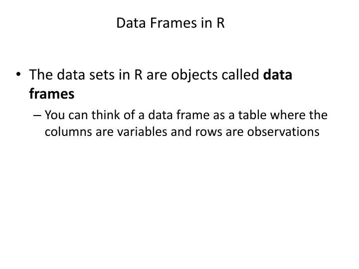 Data Frames in R