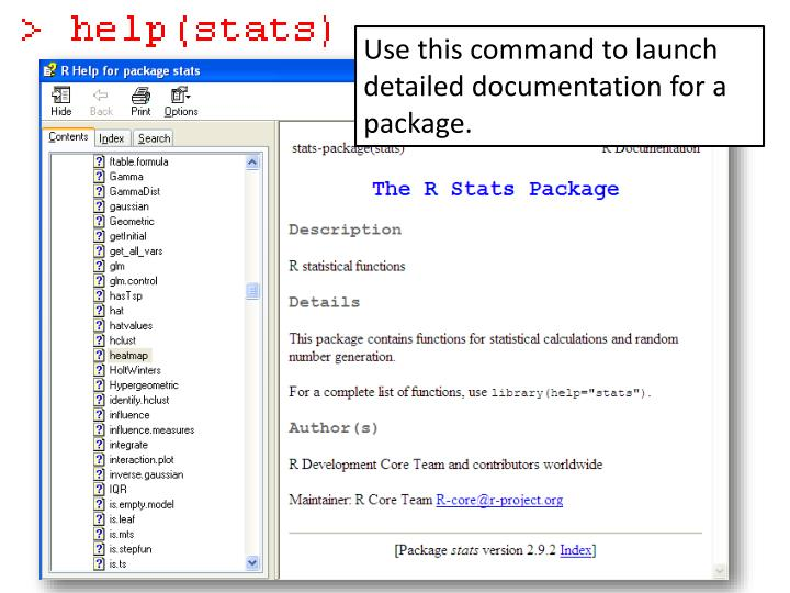 Use this command to launch detailed documentation for a package.