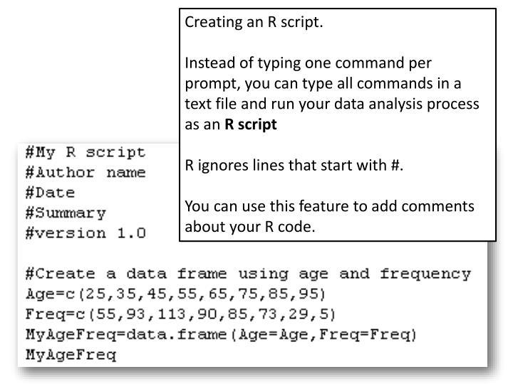 Creating an R script.