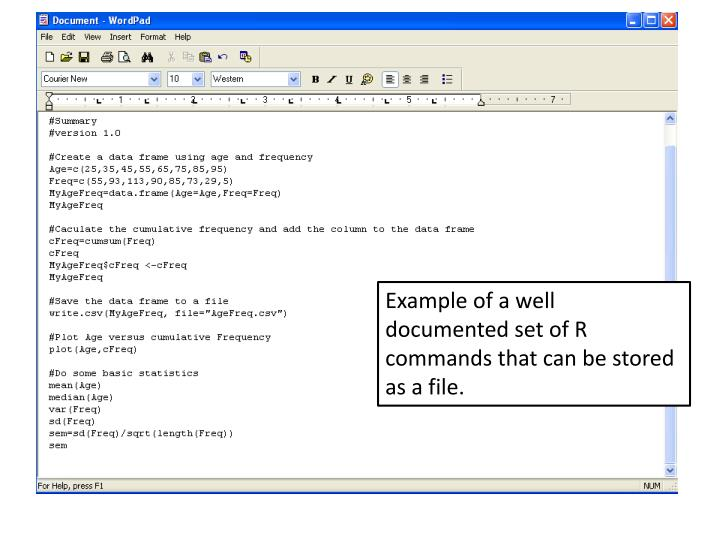 Example of a well documented set of R commands that can be stored as a file.