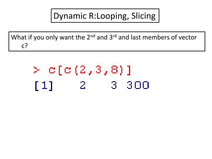 Dynamic R:Looping, Slicing