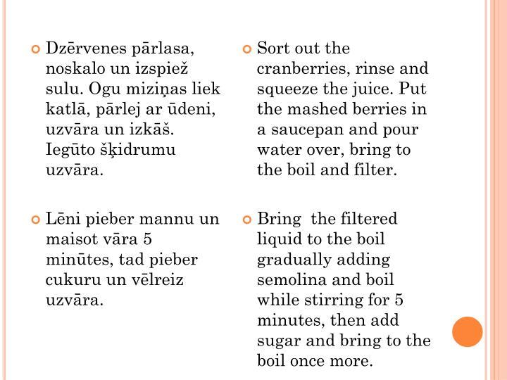Dzērvenes pārlasa, noskalo un izspiež sulu. Ogu miziņas liek katlā, pārlej ar ūdeni, uzvāra un izkāš. Iegūto šķidrumu uzvāra.