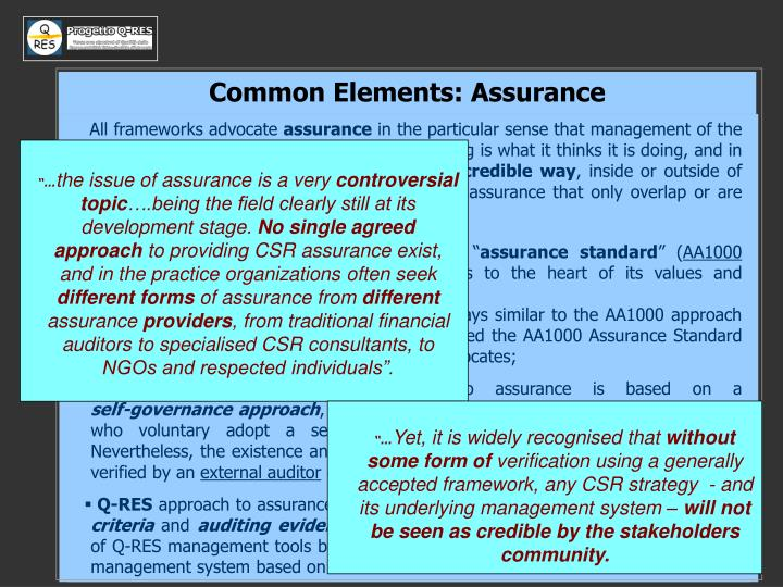 Common Elements: Assurance