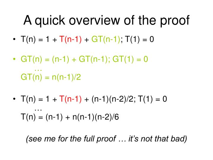 A quick overview of the proof