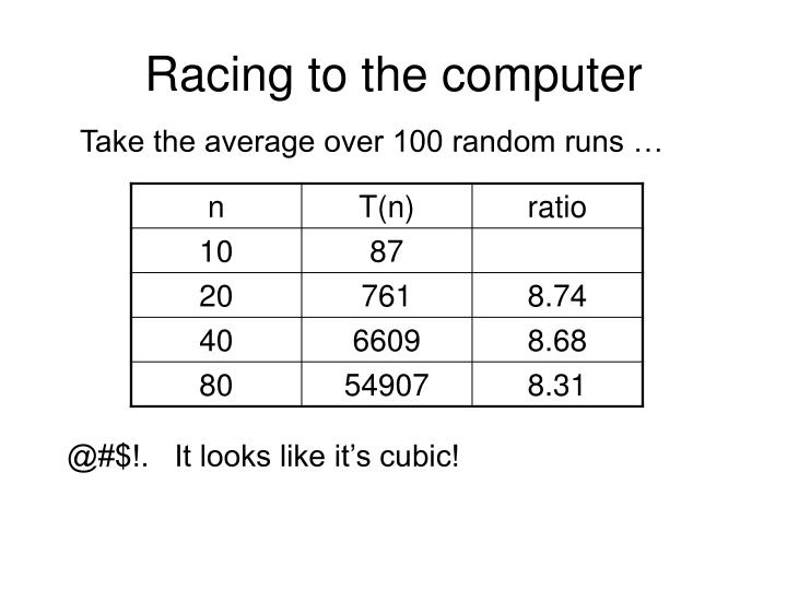 Racing to the computer
