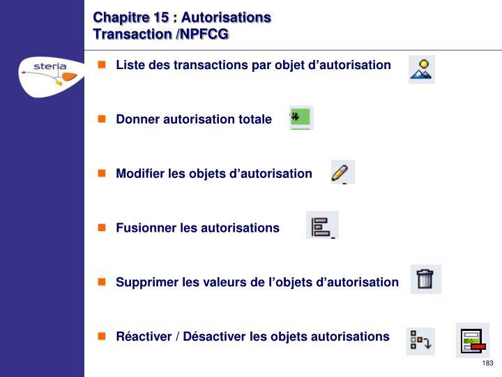 Chapitre 15 : Autorisations