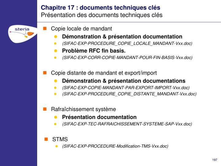 Chapitre 17 : documents techniques clés