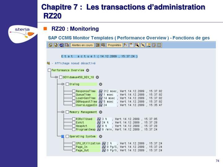 Chapitre 7 :  Les transactions d'administration