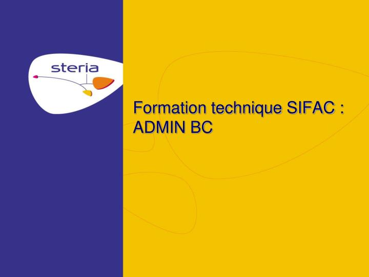Formation technique sifac admin bc