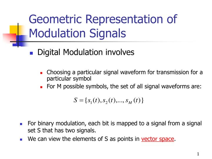 Geometric representation of modulation signals
