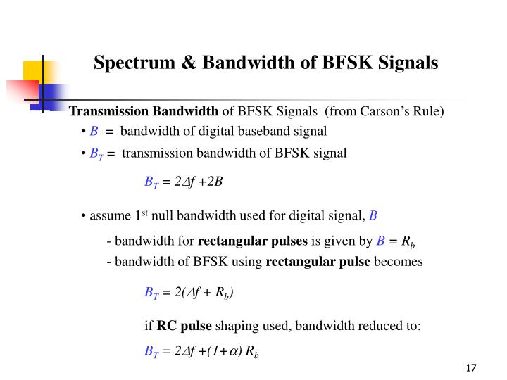 Spectrum & Bandwidth of BFSK Signals