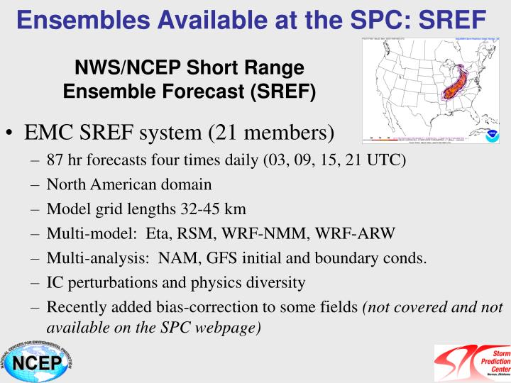 Ensembles Available at the SPC: SREF