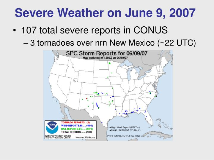 Severe Weather on June 9, 2007