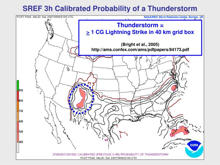SREF 3h Calibrated Probability of a Thunderstorm