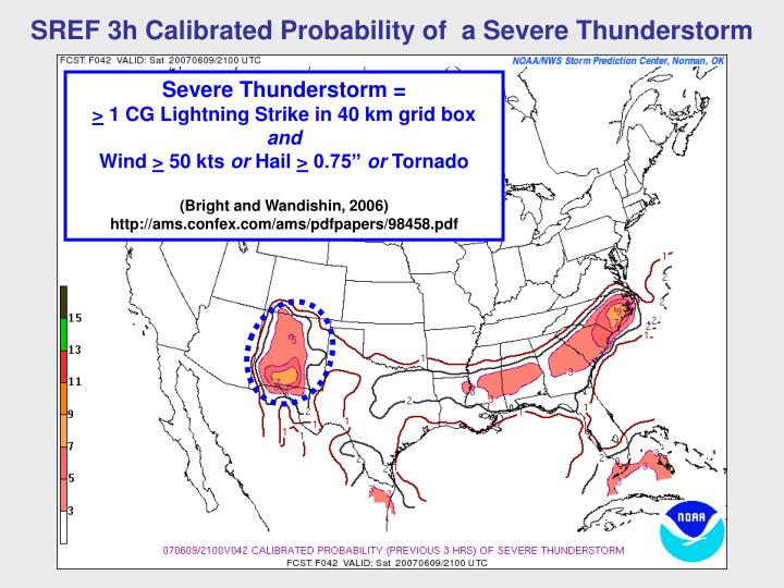 SREF 3h Calibrated Probability of  a Severe Thunderstorm