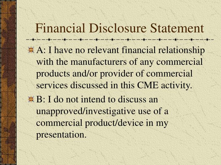 Financial Disclosure Statement