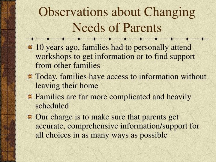 Observations about Changing Needs of Parents