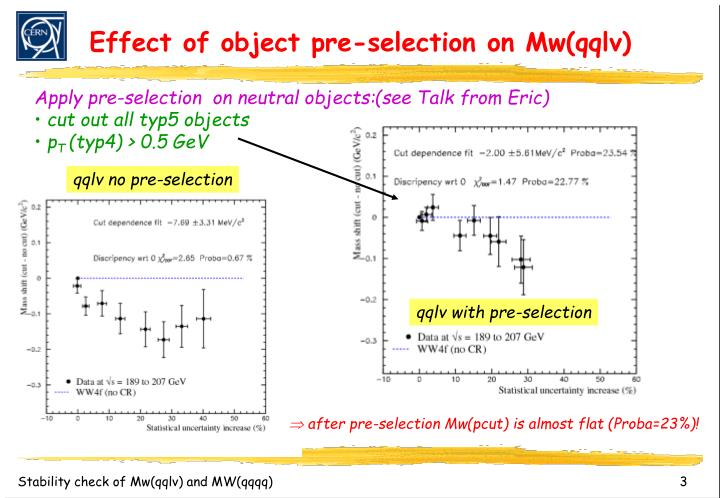 Effect of object pre selection on mw qqlv