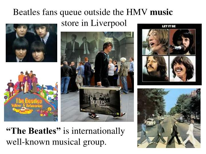 Beatles fans queue outside the HMV