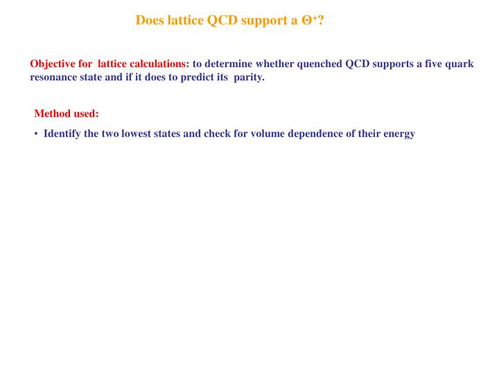 Does lattice QCD support a