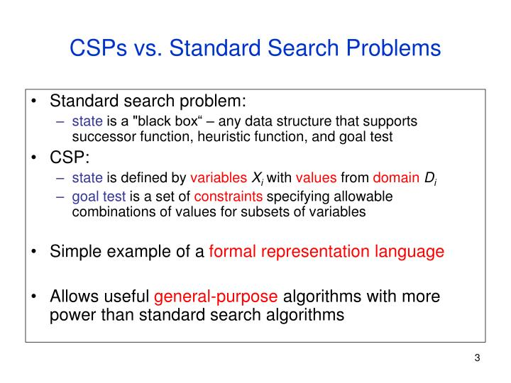 Csps vs standard search problems