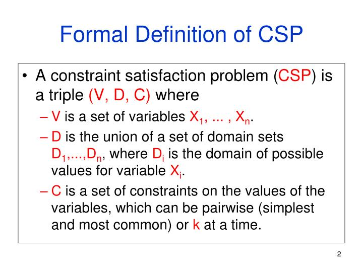 Formal definition of csp