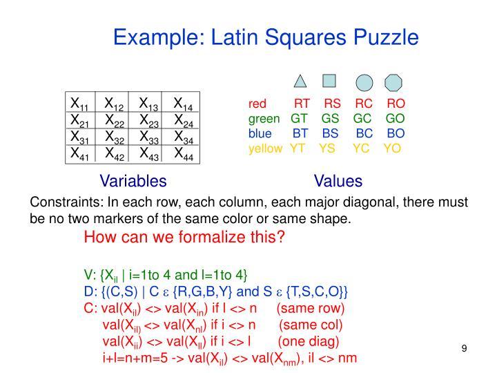 Example: Latin Squares Puzzle