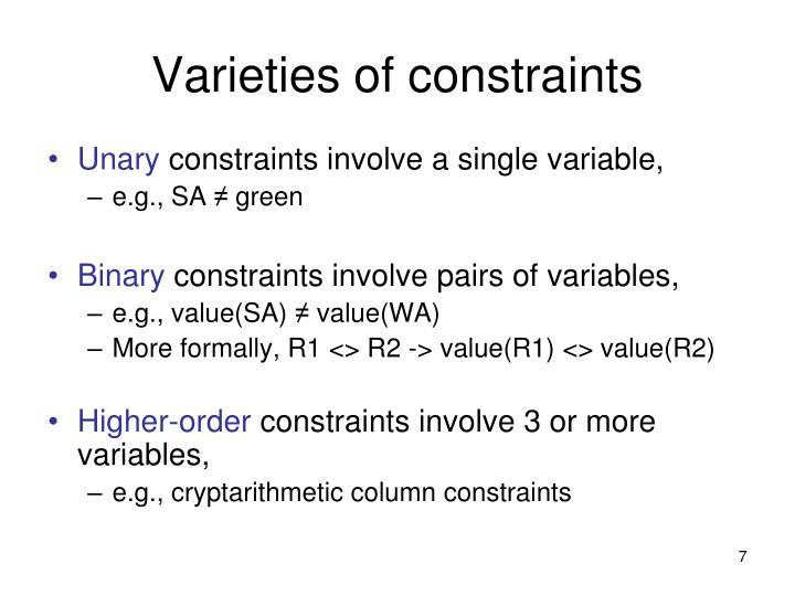 Varieties of constraints