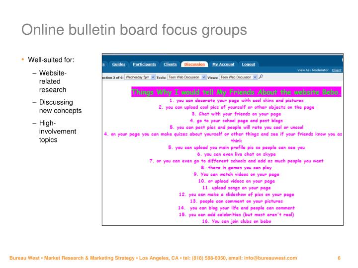 Online bulletin board focus groups