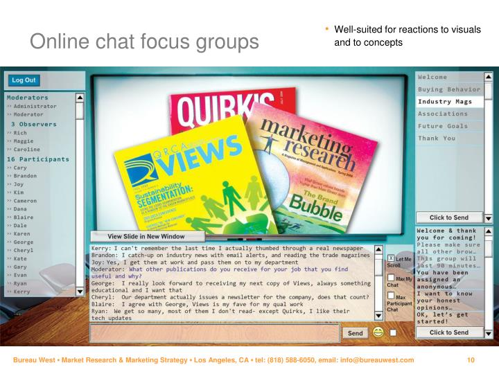 Online chat focus groups